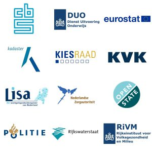 Logo's van 9 belangrijke leveranciers van open data: CBS, DUO, eurostat, kadaster, kiesraad, KVK, Lisa, Nederlandse zorgautoriteit, Open State, Politie, Rijkswaterstaat en RIVM